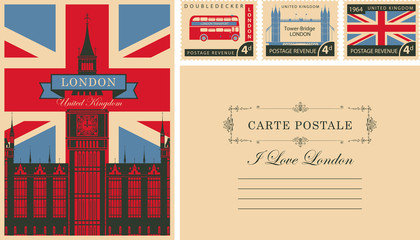 Retro postcard with british flag and Big Ben in London and with UK postmarks. Vector set of postage stamps and postcard in vintage style with words I love London and place for text Fotoväggar