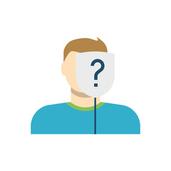 Anonymous, Man with Mask, Question Mark Flat Vector Icon. Isolated on White Background. Trendy Flat Style.