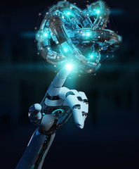 White robot hand creating future technology structure 3D rendering