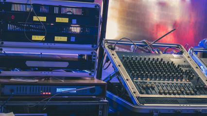 audio mixer. sound amplifier. music mixing engineering equipment