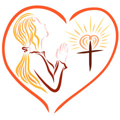 A praying young lady and a shining Christian cross, framed in the shape of a heart