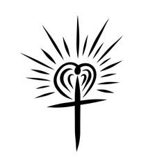 Cross with a radiant heart like the sun