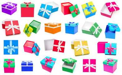 Gift boxes collection isolated on white background