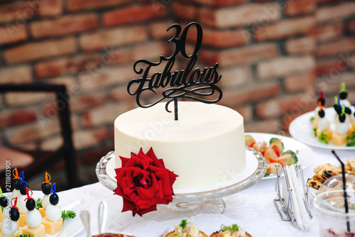Birthday Cake With Red Rose Fabulous 30 Special Years Old Sweet Table On Birhday Party Outdoor White Round Flower