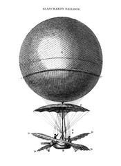 An engraved illustration of Blanchard's Balloon from a vintage book Encyclopaedia Britannica by A. and C. Black, vol. 2, of 1875.