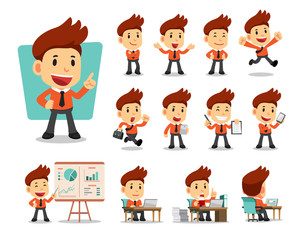 Set of vector cartoon character businessman for design.