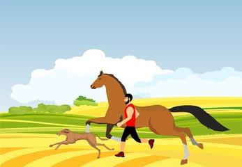 Man, horse, dog, running together countryside landscape on background