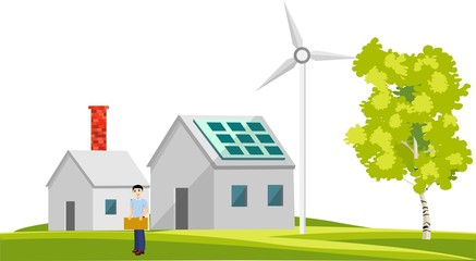 Eco-friendly houses flat design style vector illustration with, windmills, solar panels, on green fields, trees