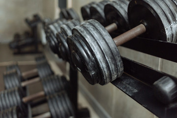 Rows of dumbbells in the gym. gym equipment for strength training