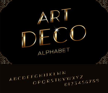 Elegant italic golden font and alphabet in Art deco style.