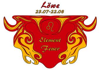 Sternzeichen Löwe, mit deutschem Text: Löwe, Datum, Element Luft, Vektorgrafik eps10