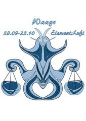 Sternzeichen Waage, mit deutschem Text: Waage, Datum, Element Luft, Vektorgrafik eps10
