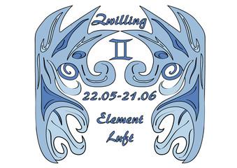 Sternzeichen Zwilling, mit deutschem Text: Zwillinge, Datum, Element Luft, Vektorgrafik eps10