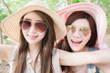 two beauty woman selfie happily