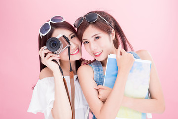 two beauty woman go travel