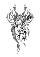 Tiger walking with cloud design for Asian Tattoo vector with white isolated