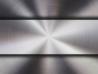 Wall Mural - Metal textured abstract technology background with circular polished, brushed concentric texture, chrome, silver, steel, aluminum for design concepts, wallpapers, web and prints. Vector illustration.
