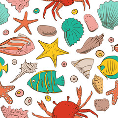 Seamless patterns with shell, starfish, fish, stone. Vector set for design in sea beach style. Colored exotic shells
