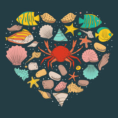 Heart form with shell, starfish, fish, stone. Vector set for design in sea beach style. Colored exotic shells and underwater animals