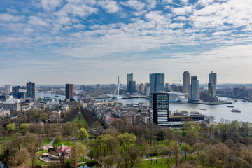 Panoramic cityscape of Rotterdam with park in the foreground