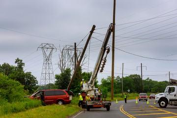 Sayreville NJ USA - Jujy 02, 2018: Car crashes into electric pillar after a car accident