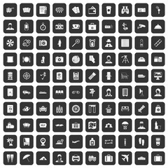 100 passport icons set in black color isolated vector illustration
