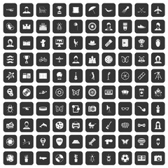 100 photo icons set in black color isolated vector illustration