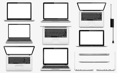 Set of vector laptop computers