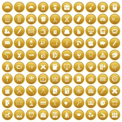 100 pensil icons set in gold circle isolated on white vectr illustration