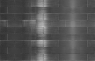 brushed stainless steel metal tile wall