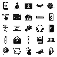 Noise icons set. Simple set of 25 noise vector icons for web isolated on white background