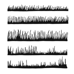 vector silhouette grass. lawn isolated set
