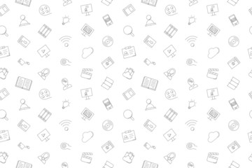 Vector Library and Online Library pattern. Library and Online Library seamless background