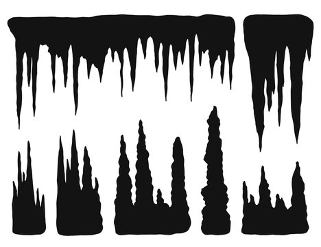 stalactites, growths and mineral formations. vector silhouette isolated