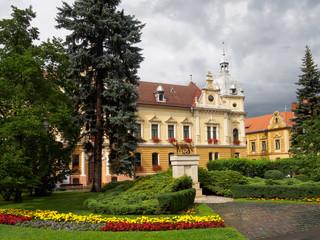 City Hall building of Brasov town. Famous architecture landmark of Transylvania, in Romania