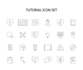 Line icons set. Tutorial pack. Vector illustration