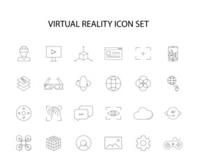 Line icons set. Virtual reality pack. Vector illustration
