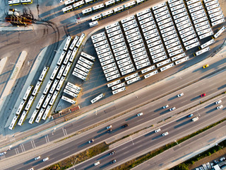 Aerial Drone View of Bus Station Next to Highway in Istanbul Kartal.