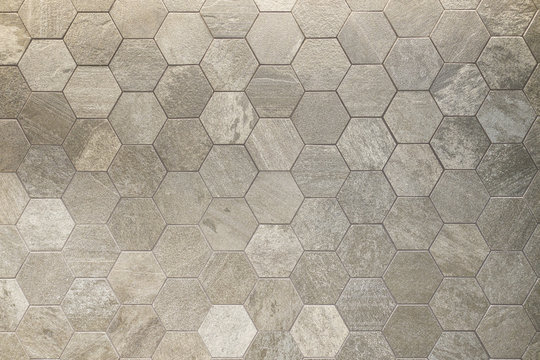 Textured hexagon patterned tile background floor or wall