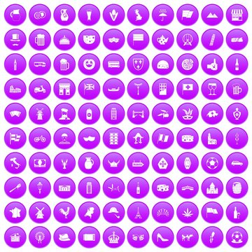 100 europe countries icons set in purple circle isolated on white vector illustration