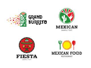 Vector Mexican Burrito Food Logo Set