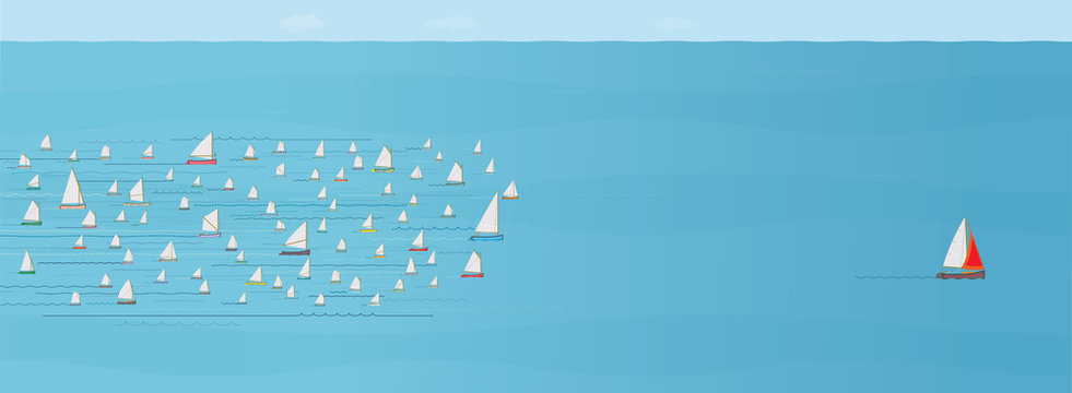 Sailboat ahead of the Competition, Leaving the Crowd behind, Progress, Achievement, The Best, Entrepreneur, In Front of, Wide Format, Sea, Business Strategy Concept, Illustration, Boat Winning