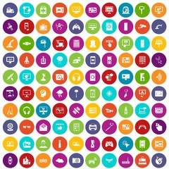 100 software icons set in different colors circle isolated vector illustration