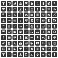 100 software icons set in black color isolated vector illustration