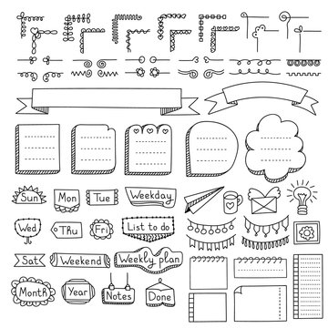 Bullet journal hand drawn vector elements for notebook, diary and planner. Doodle banners isolated on white background. Days of week, notes, list, frames, dividers, corners, ribbons.