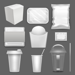 Realistic Detailed 3d White Blank Fast Food Package Template Mockup Set. Vector