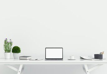 Laptop display for mockup on table in white room and blank space fot text, 3D rendering Wall mural