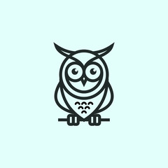owl logo modern outline minimalist download template vector graphic