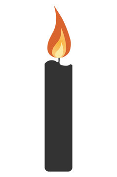simple candle icon with shadow. concept of flaming candlestick, christianity attributes, shining, meditation. isolated on gray background. flat style trend modern logo design vector illustration