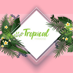 Pink tropical card